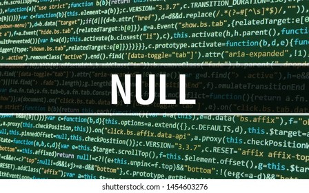 Null concept with Random Parts of Program Code. Null with Programming code abstract technology background of software developer and Computer script. Null Background concept