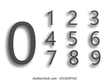 Number 0 to 9 white background gray