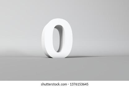 Number 0 Letter on white 3D Studio background