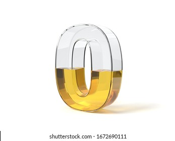 Number 0 shaped glass half filled with yellow liquid. suitable for fuel, oil, honey and any other liquid themes. 3d illustration