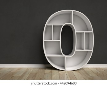 Number 0 shaped shelves 3d rendering