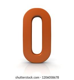number 0 zero null 3d render orange sign symbol icon isolated on white background