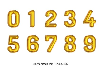 number 0-9 foil balloon gold on white background