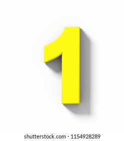 number 1 3D yellow isolated on white with shadow - orthogonal projection - 3d rendering