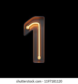 Number 1, Alphabet made from Neon Light with clipping path. 3D illustration