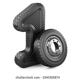 Number 1 from big car rubber truck tire. First place in the competition of auto racing. Award for victory - winner concept. 3d Illustration over white background.