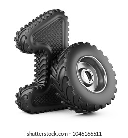 Number 1 from big car rubber truck tire. First place in the competition of racing. Award for victory - winner concept. 3d Illustration over white background.