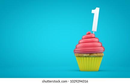 Number 1 birthday celebration cupcake. 3D Rendering