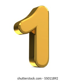 Number 1, in gold metal on a white isolated background