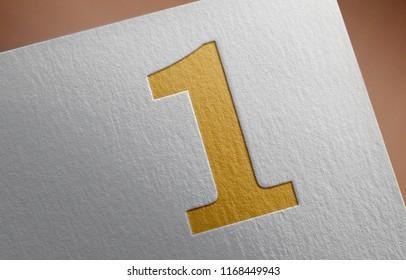 Number 1. Golden Number 1 Letter 3D Illustration Write On The Paper. Number 1 On The Paper. 3D Rendering.