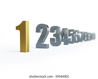 number 1 isolated on a white background