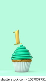 Number 1 mint green birthday celebration cupcake. 3D Rendering