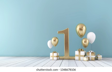 Number 1 party celebration room with gold and white balloons and gift boxes. 3D Render