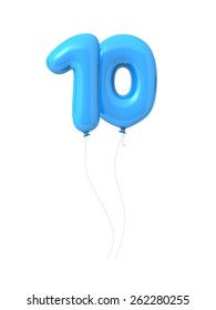 Number 10, 3d font as blue balloons. Isolated on white background