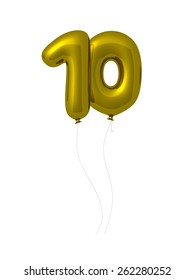 Number 10, 3d font as golden balloons. Isolated on white background