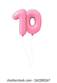 Number 10, 3d font as pink balloons. Isolated on white background