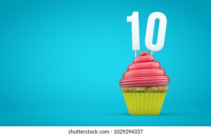 Number 10 Birthday Celebration Cupcake 3D Rendering