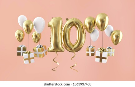 Number 10 birthday celebration gold balloon with presents. 3D Render