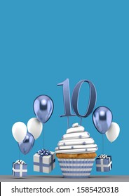 Number 10 blue birthday cupcake with balloons and gifts. 3D Render