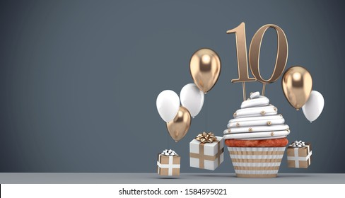 Number 10 gold birthday cupcake with balloons and gifts. 3D Render