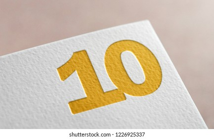 Number 10. Golden Number Ten Letter 3D Illustration Write On The Paper. Number 10 On The Paper. 3D Rendering.