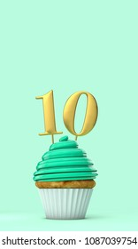 Number 10 mint green birthday celebration cupcake. 3D Rendering