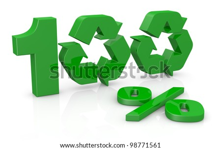 the number 100 with the percent symbol, the zero numbers are made with two recycling symbols (3d render)