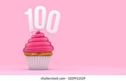 Number 100 pink birthday celebration cupcake. 3D Rendering