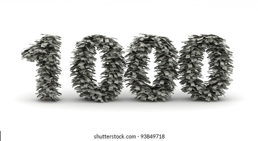 Number 1000  with dollar bills like leafs