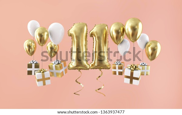 Number 11 birthday celebration gold balloon with presents. 3D Render