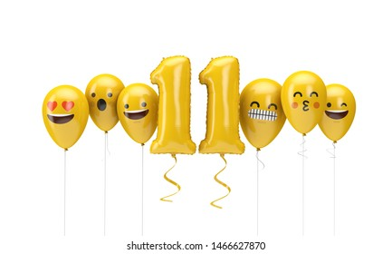 Number 11 yellow birthday emoji faces balloons. 3D Render