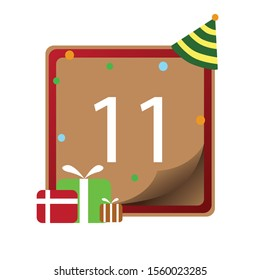 Number 11th, Number write on brown and red line box, icon, isolated on white background, Happy birthday, anniversary.