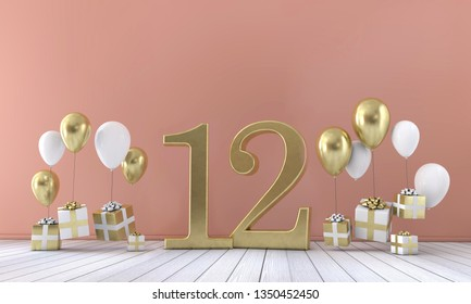 Number 12 birthday party composition with balloons and gift boxes. 3D Rendering