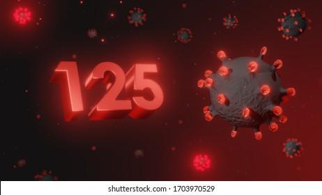 Number 125 in red 3d text on dark corona virus background, 3d render, illustration, virus