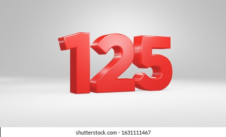 Number 125 in red on white background, isolated glossy number 3d render