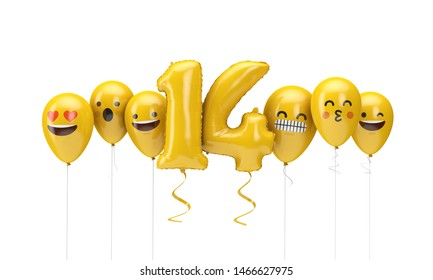 Number 14 yellow birthday emoji faces balloons. 3D Render