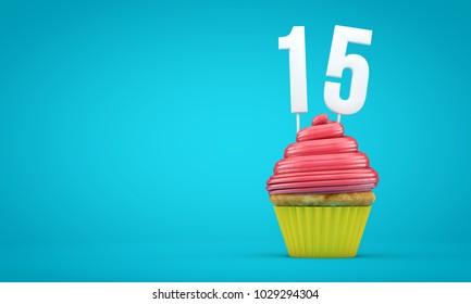 Number 15 birthday celebration cupcake. 3D Rendering