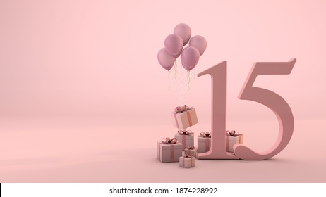 Number 15 birthday celebration pink gift box and pink balloons. 3D Render