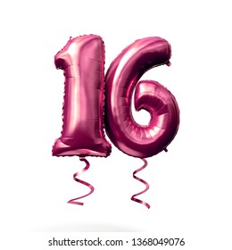 Number 16 rose gold helium balloon isolated on a white background. 3D Render