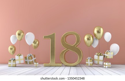 Number 18 birthday party composition with balloons and gift boxes. 3D Rendering