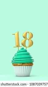 Number 18 mint green birthday celebration cupcake. 3D Rendering