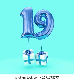 Number 19 birthday celebration foil helium balloon with presents. 3D Render