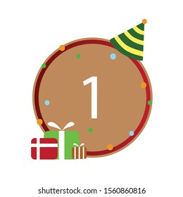 Number 1st, Number write on brown and red line box, icon, isolated on white background, Happy birthday, anniversary.