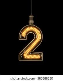 Number 2, Alphabet  made of light bulb. 3D illustration