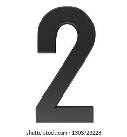 number 2 black sign 3d rendering
