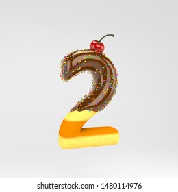 Number 2. Cake font with chocolate, sprinkles and cherry on top. 3d rendered alphabet type isolated on white background. Best for birthday party, celebration, anniversary.