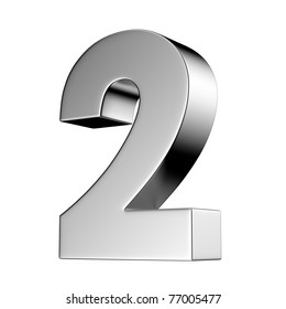 Number 2 from chrome solid alphabet. There is a clipping path