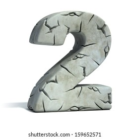 number 2 cracked stone 3d font