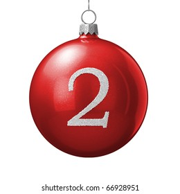 Number 2 from cristmas ball alphabet. There is a clipping path