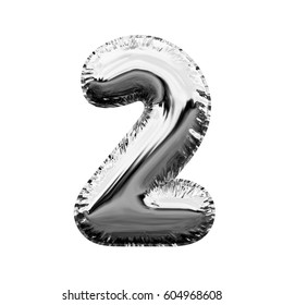 Number 2 metallic silver shiny foil party celebration balloon on a plain white background. 3D rendering